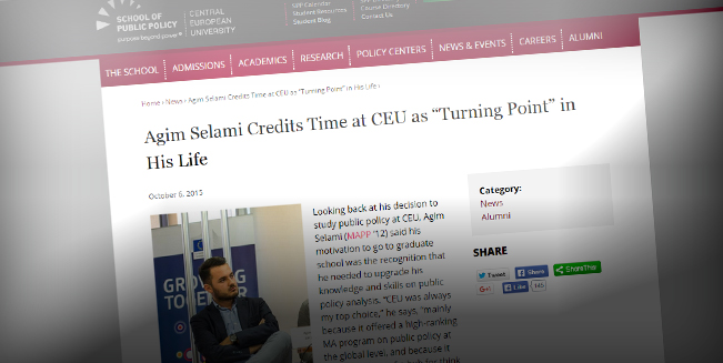 "Agim Selami Credits Time at CEU as ""Turning Point"" in His Life"