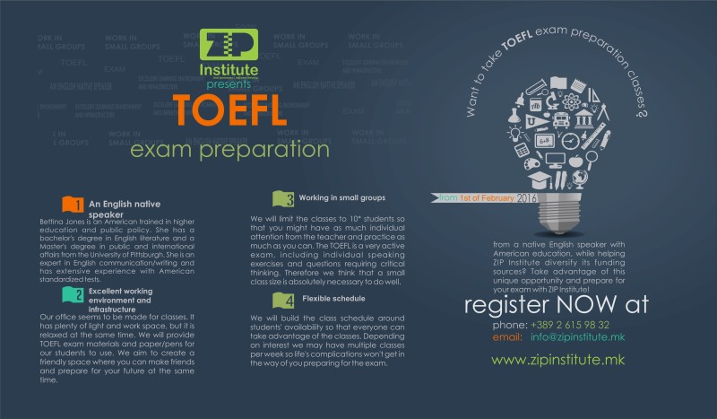 Come take TOEFL exam preparation courses at ZIP!